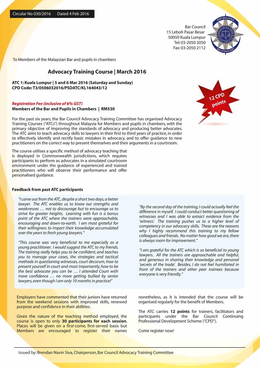 Malaysia Advocacy Training Course Kuala Lumpur March 2016 5 And